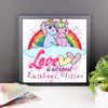 Image of Love is All About Rainbows, Glitter & Unicorn Valentines Framed Poster - KayZ Pro