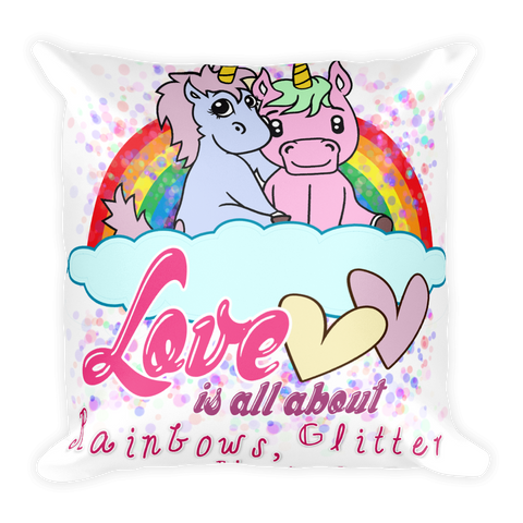 Original Cute Unicorn Valentines Gift Lovers Square Pillow - KayZ Pro