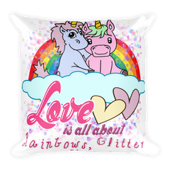Original Cute Unicorn Valentines Gift Lovers Square Pillow