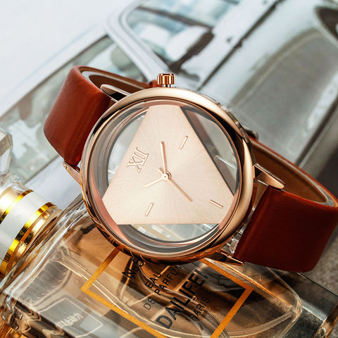 Hollow Inverted Triangle Quartz Watch Women Luxury Brand - KayZ Pro