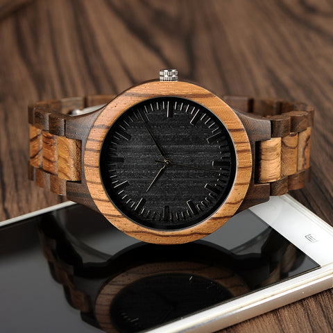 Quartz Analog Men's Wooden Watch with All Wood Strap - KayZ Pro