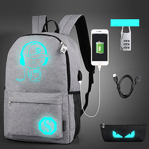 Luminous  Anti-theft Backpack with USB Charger - KayZ Pro