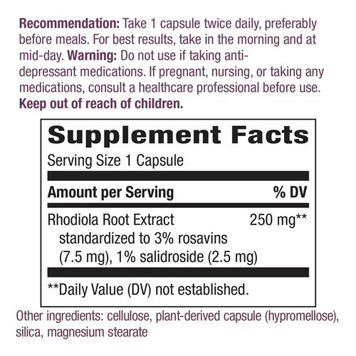 Nature's Way - Capsulas de Rhodiola Rosea 60 cap/250mg