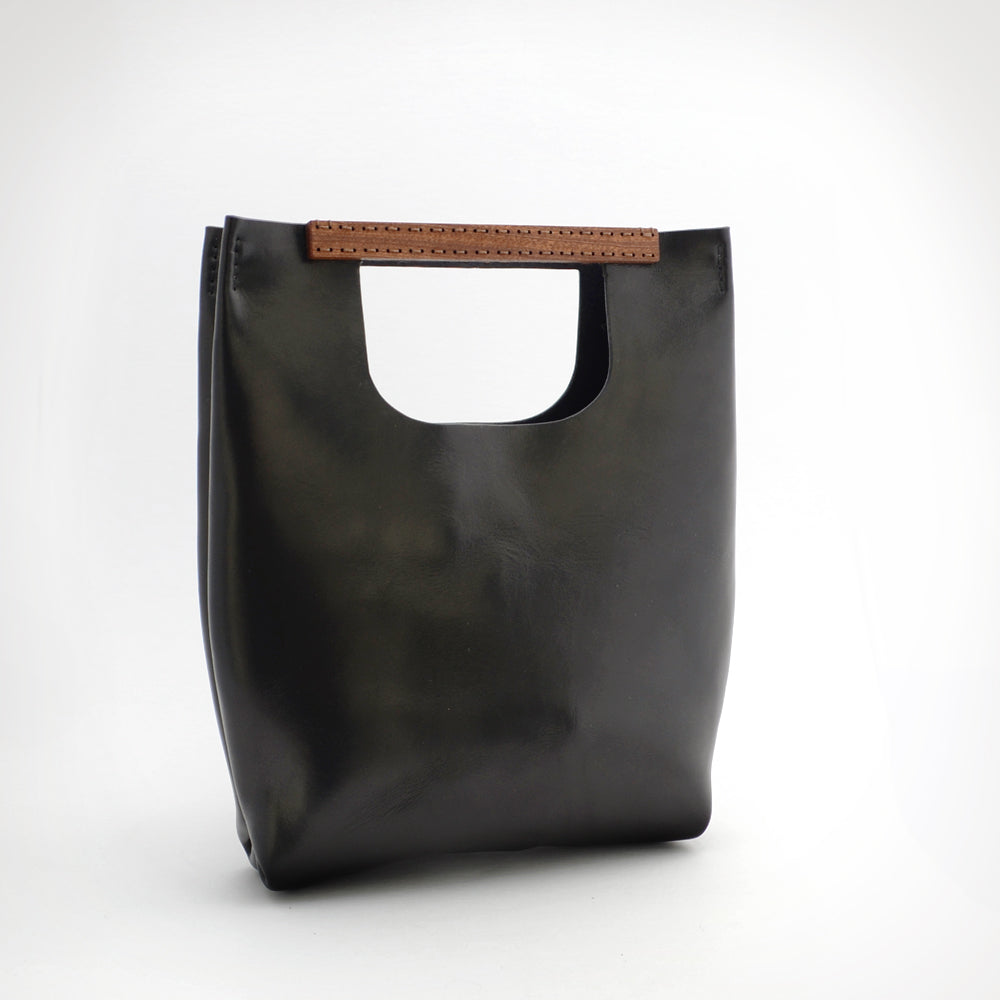 BLACK, WOOD HANDLE TOTE