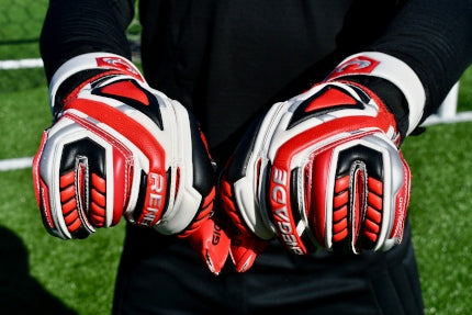 Goalkeeper wearing Fury Inferno with balled fists