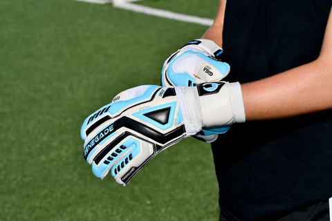 goalkeeper wearing Fury Sub-Z gloves touching the wrist