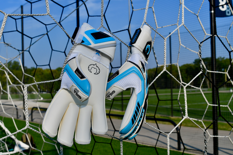 Renegade GK Fury Sub-Z gloves hanging in the net