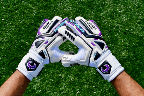 soccer goalie looking at Renegade GK Fury UV gloves