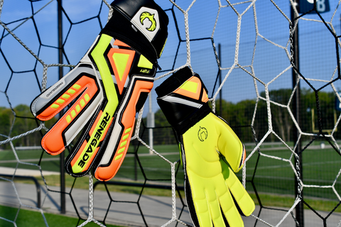 Renegade GK Fury Volt gloves hanging in the net