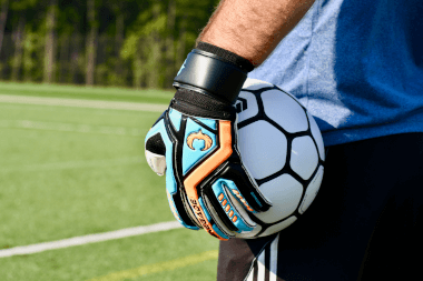 Renegade GK Talon Cyclone 2 Goalie Gloves Holding Ball on the Side