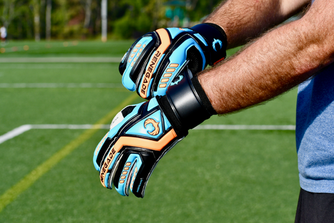 soccer goalie adjusting talon cyclone 2 gloves at the wrist