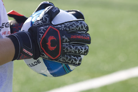 close up on goalkeeper's triton frenzy gloves