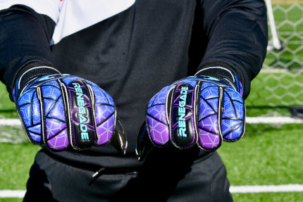 Goalkeeper wearing Vortex Storm gloves with balled fists