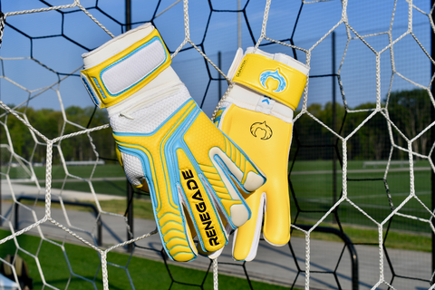 renegade gk vulcan surge gloves hanging in the net