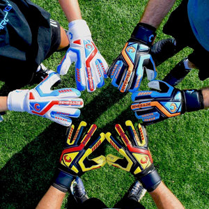 goalkeepers wearing goalie gloves  joining hands