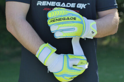 goalkeeper with vulcan surge glove adjusting wrist strap