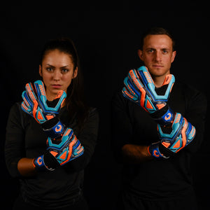 male and female goalkeeper wearing fury siege gk gloves