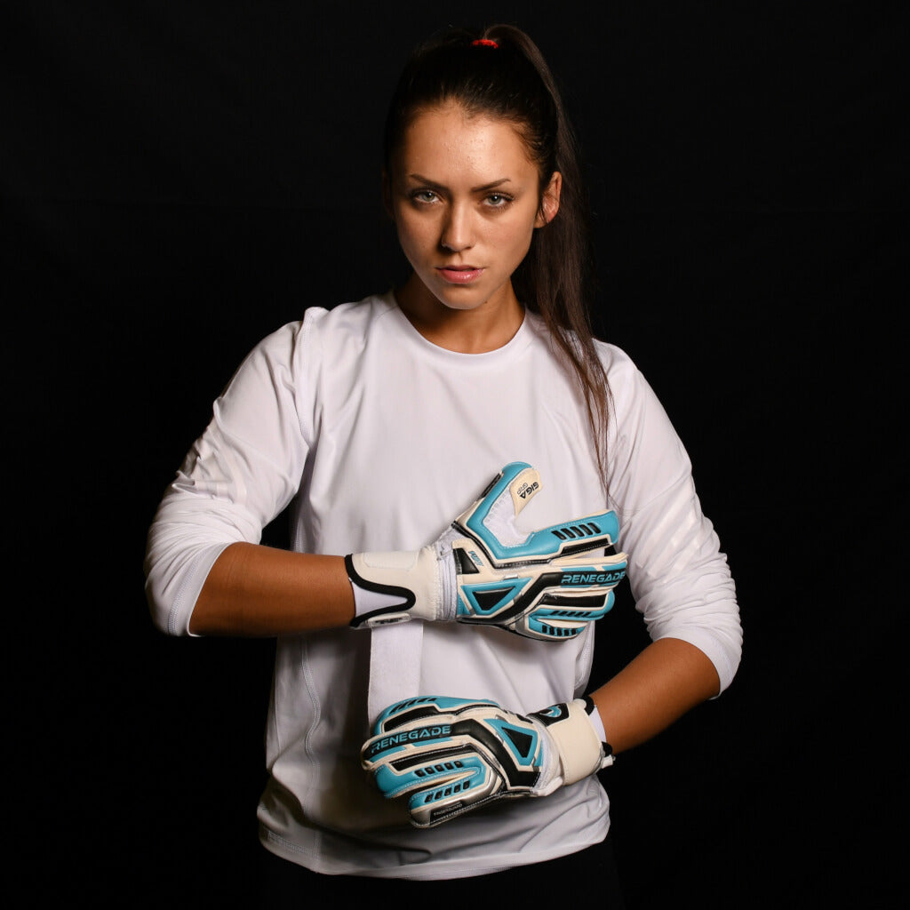 female goalkeeper wearing fury sub z goalie gloves