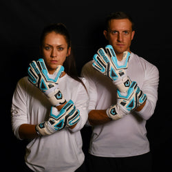 male and female goalkeeper wearing fury sub z keeper gloves