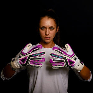 female goalkeeper wearing fury uv2 goalie gloves