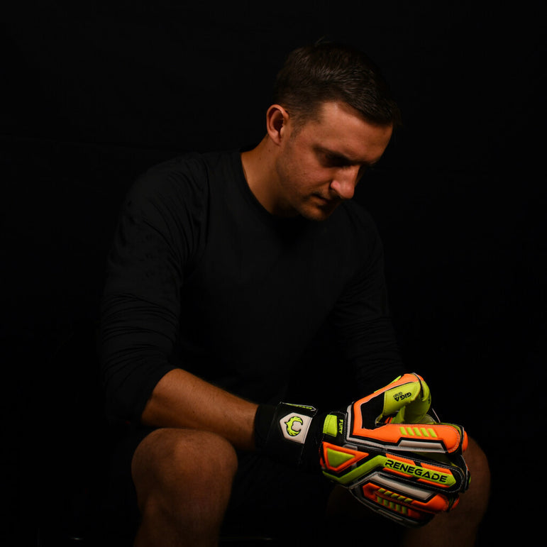 male goalkeeper wearing fury volt gk gloves