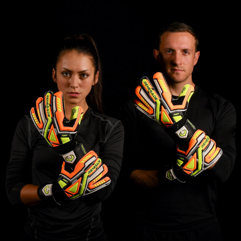 male and female goalkeeper wearing fury volt keeper gloves