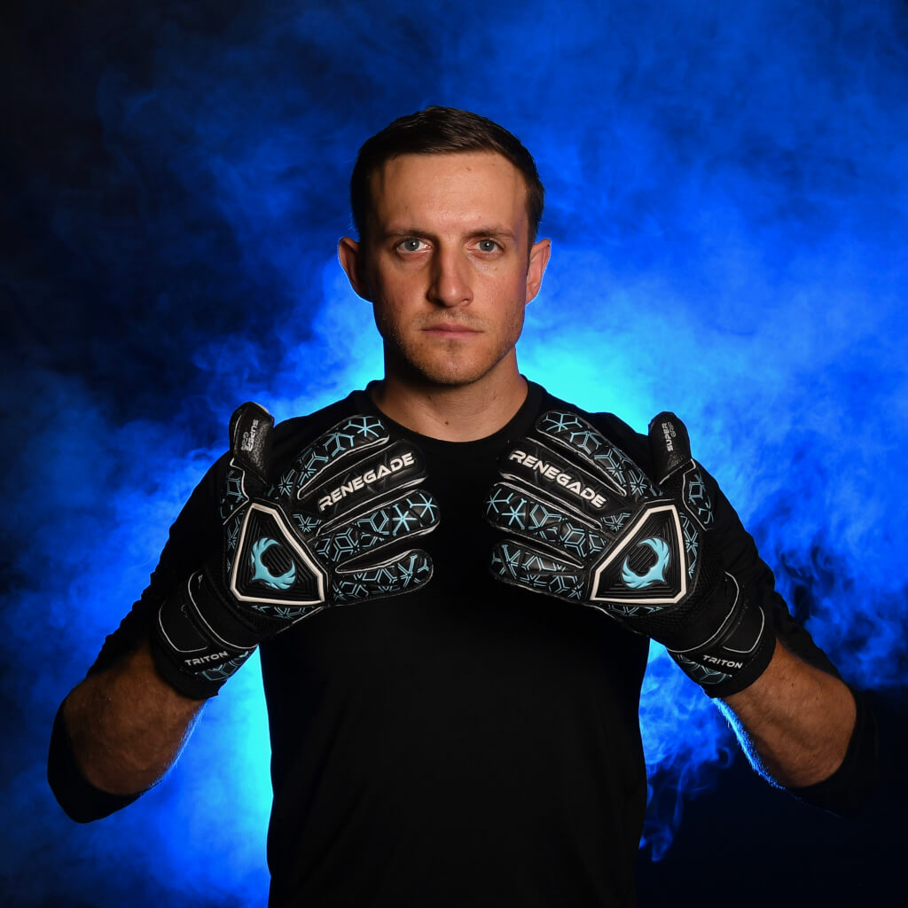 male goalkeeper wearing triton specter