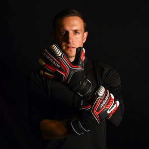 male goalkeeper wearing vulcan raze goalie gloves