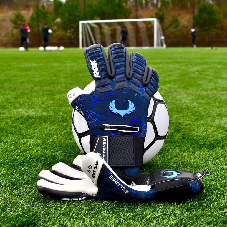Black /& Blue Football Goalkeeper Gloves Size 7, Youth, Negative Cut, Level 5 4mm EXT Contact Grip /& Breathaprene Renegade GK Eclipse Frost Professional Goalie Gloves