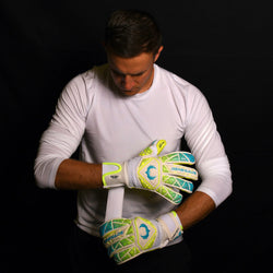 male goalkeeper wearing vortex wraith adjusting strap