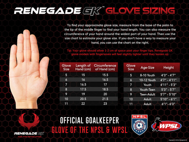 renegade gk goalie gloves size chart