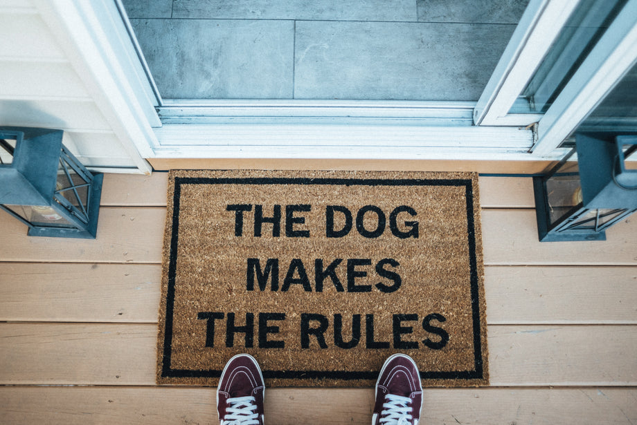 The Dog Makes The Rules funny doormat