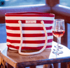 PortoVino Beach Wine Purse Red & White Striped with Wine Glass