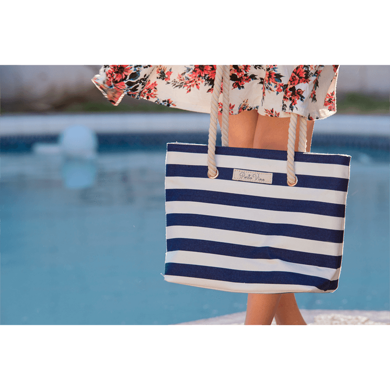 ... Wholesale Canvas · Woman holding Blue and White Stripped PortoVino  Canvas Beach Purse ... 2c86a2bc4d73b