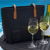 Black PortoVino Wine Purse with wine glasses