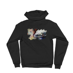 Abronia watercolor unisex zip hoodie back print- Conservation Collection