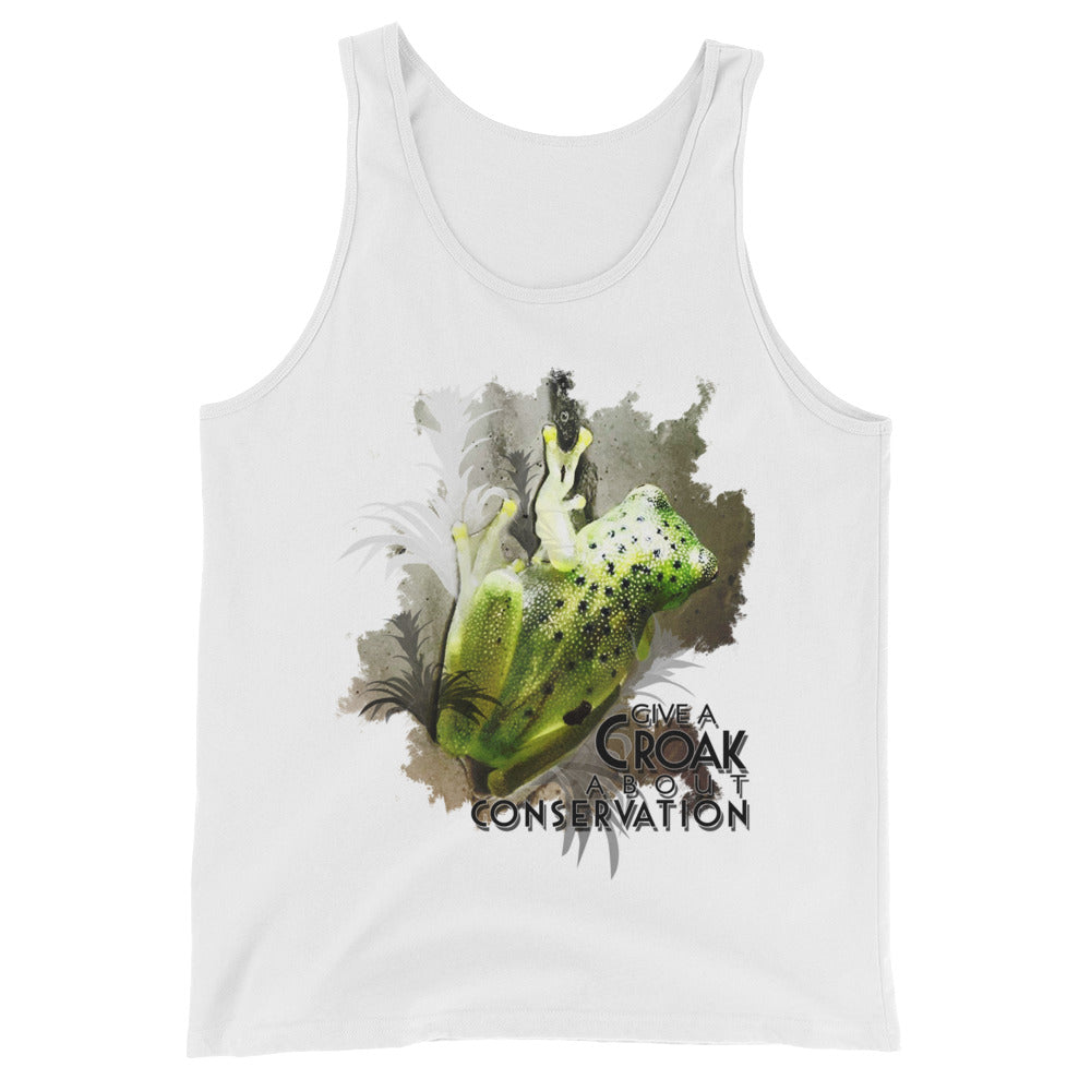Glass frog watercolor unisex tank- Conservation Collection
