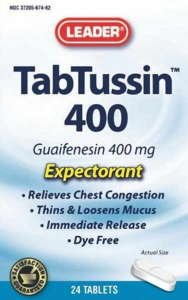 Leader Tabtussin Expectorant Tablets, 400mg, 24ct, - MENCO MEDICAL SERVICES