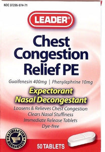 Leader Chest Congestion Relief Guaifenisin PE 400mg Tabs 50ct - MENCO MEDICAL SERVICES