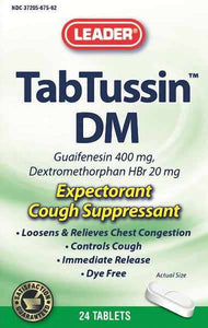 Leader Tabtussin DM Expectorant Tablets, 400mg, 24ct, - MENCO MEDICAL SERVICES