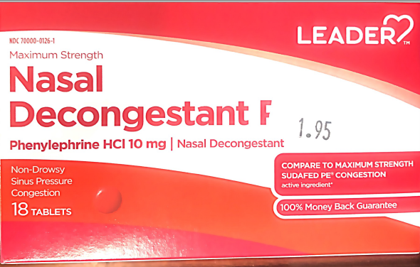 Leader Nasal Descongestant (18) tablet - MENCO MEDICAL SERVICES