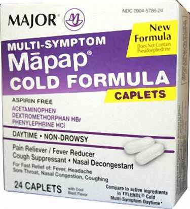 Mapap Cold Formula Generic For Tylenol Cold 24 Tab - MENCO MEDICAL SERVICES