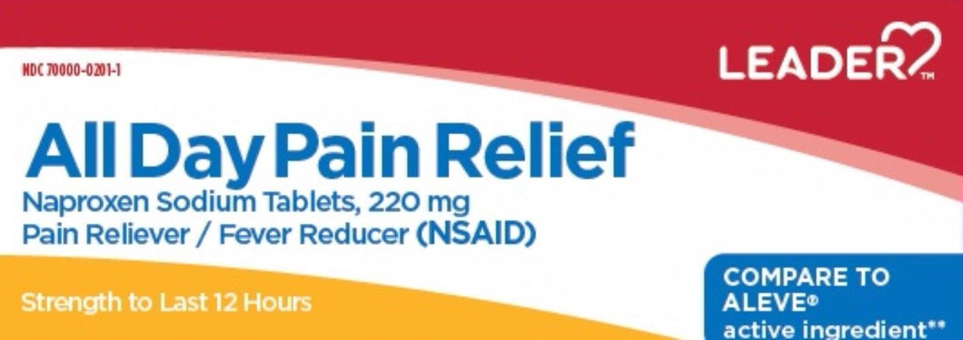 Leader All Day Pain Relief Naproxen Sodium Tablets 220 MG 50 - MENCO MEDICAL SERVICES