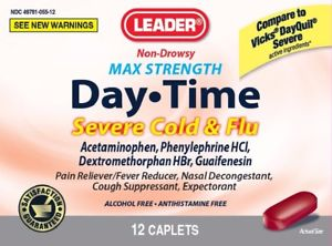 Leader Max Strength Day Time Severe Cold & Flu, Non-Drowsy, 12 Caplets - MENCO MEDICAL SERVICES