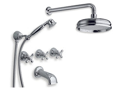 Impero Concealed Tub/Shower Mixer w/ Handshower, Spout, + Shower Head/Arm