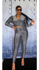 Star Shocked Silver Pants Set
