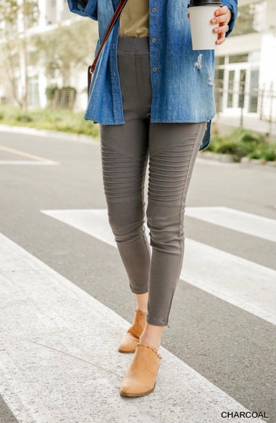 Locked, Lavish, and Ready, Moto Jeggings-Charcoal