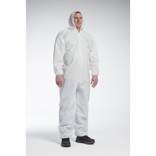 WC-3706 Posi-Wear UB - White Coverall, zipper front w/Elastic Wrist/Ankle and attached Hood - Free Shipping on $50 orders