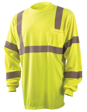 Occunomix LUX-LSETP3B Type R Class 3 Long Sleeve Safety T-Shirt - Yellow/Orange
