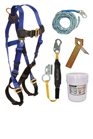 7015 Harness; 8149 Vertical Lifeline, 8353LT Shock Absorbing Lanyard with Manual Grab; 7444 Roof Anchor